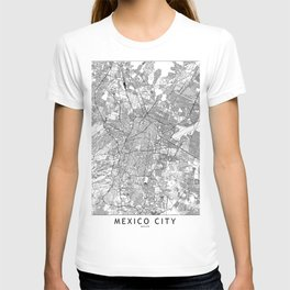 Mexico City White Map T-shirt