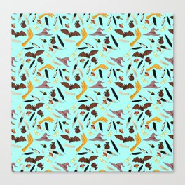Halloween Pattern with Blue Background Canvas Print
