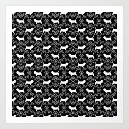 Basset Hound floral silhouette dog pattern minimal black and white pet portraits Art Print