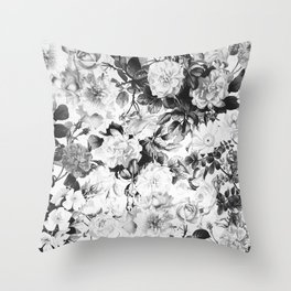 Black gray modern watercolor roses floral pattern Throw Pillow