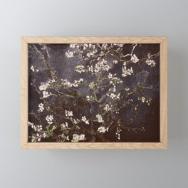 Vincent Van Gogh Almond Blossoms dark gray slate Framed Mini Art Print