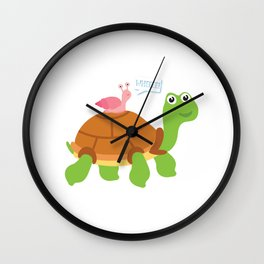 Wheee! Snail Riding on Turtle Adorable Animal Wall Clock