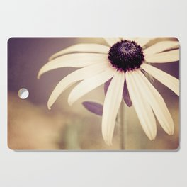 Daisy Flower Photography, Burgundy Cream Beige Brown, Neutral Floral Nature Daisies Photo Cutting Board