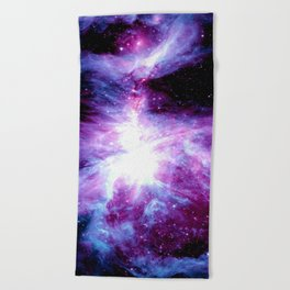 Orion Nebula Purple Periwinkle Blue Galaxy Beach Towel