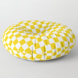 White and Amber Orange Checkerboard Floor Pillow