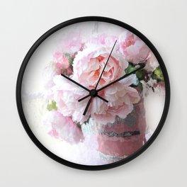 Impressionistic Dreamy Peony Peonies Wall Art Home Decor Wall Clock