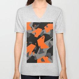 Black\Grey\Orange Geometric camo Unisex V-Neck