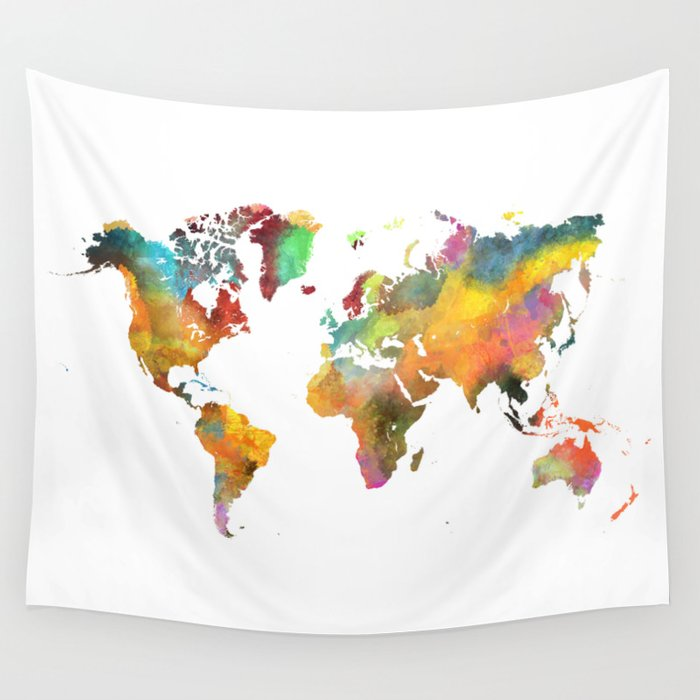 world map 4 Wall Tapestry