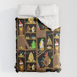 Chicken Coop Christmas - by Kara Peters - funny chickens, holidays Comforters