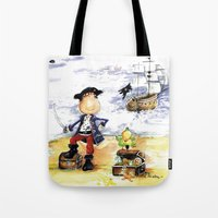 pirate ship Tote Bags featuring Pirate by LolMalone