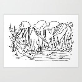 Ice Creek Lake, Valhallas :: Single Line Art Print