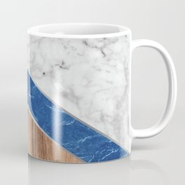 Stone Arrow Pattern - White & Blue Marble & Wood #436 Coffee Mug