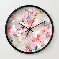pink floyd Wall Clocks featuring Love of a Flower by Girly Trend