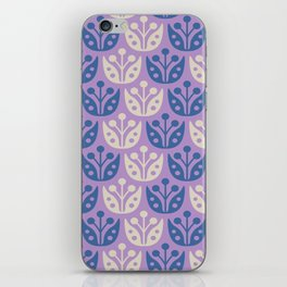Mid Century Modern Flower Pattern Lavender and Blue 112 iPhone Skin
