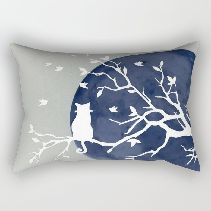 Blue moon | Dark moon | Cat on tree branch | Witchy cat | Wicca Rectangular Pillow