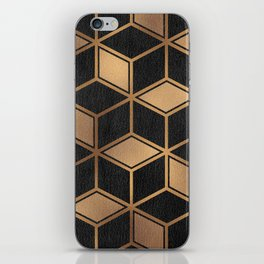 Charcoal and Gold - Geometric Textured Cube Design II iPhone Skin