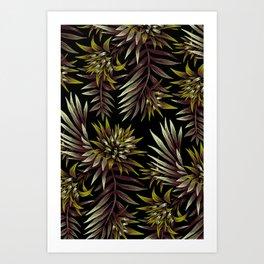 Aechmea Fasciata - Dark Green / Brown Art Print