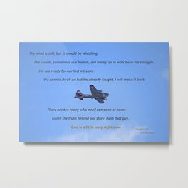 """""""B-17 - #38"""" with poem: God's Busy Metal Print"""