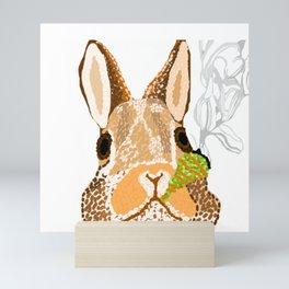 BUNNY SMOKES MARIJUANA Mini Art Print