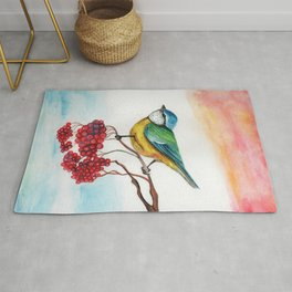 Great Tit & Ribes Rug