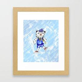 Sporty White Tiger Skating Framed Art Print