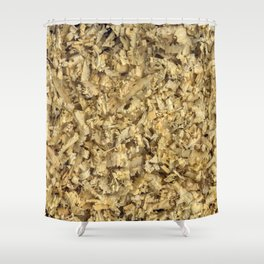 Texture and background from coniferous wood shavings Shower Curtain