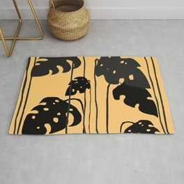 gold and black leaves Rug