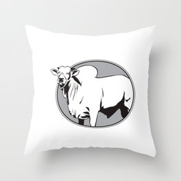 Bull zebu vintage logo Throw Pillow