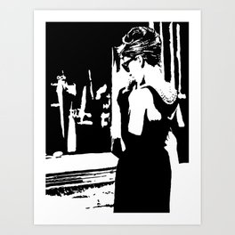 Audrey Hepburn in movie Breakfast at Tiffany's. Black and white portrait, monochrome stencil art Art Print