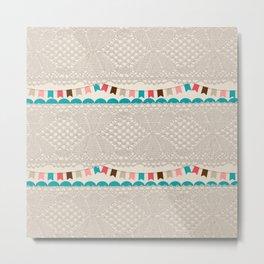 Vintage elegant ivory floral lace colorful flags pattern Metal Print