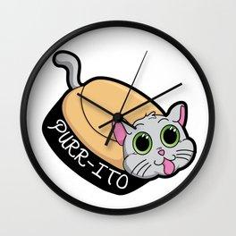 Purr-ito Kitty Burrito Wall Clock