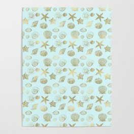 Blue Mint Gold Sea Shells Poster