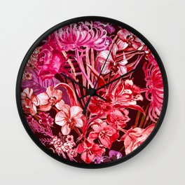 lush lipstick colored tropical floral Wall Clock