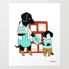 Labrador Librarian (Dogs with Jobs series) Art Print