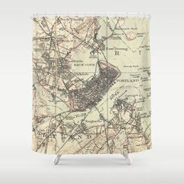 Vintage Map of Portland Maine (1914) Shower Curtain