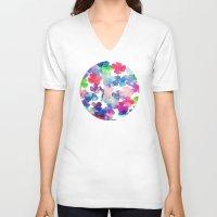 garden V-neck T-shirts featuring Garden by DuckyB