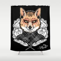 mr fox Shower Curtains featuring Mr Fox by Miss Cherry Martini