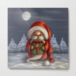 Little Santa with a gift Metal Print
