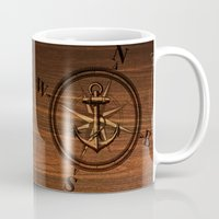 wooden Mugs featuring Wooden Anchor by Nicklas Gustafsson