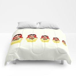 Red russian matryoshka nesting dolls Comforters