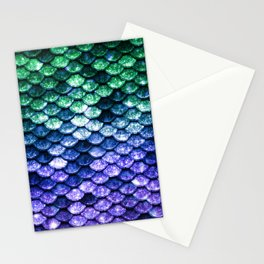 Green Purple Mermaid Tail Stationery Cards