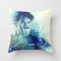 tea Throw Pillows featuring Tea by Anna Dittmann