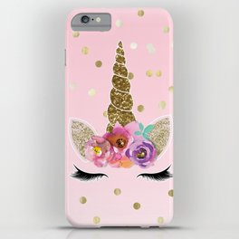 Floral Trendy Modern Unicorn Horn Gold Confetti iPhone Case