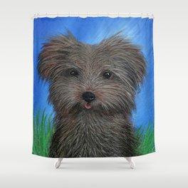 Scruffy Yorkie Dog Portrait Shower Curtain