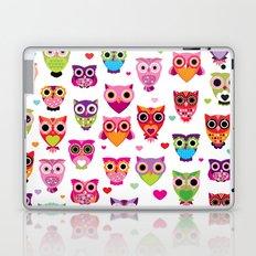 Cute colorful retro style owl illustration pattern Laptop & iPad Skin