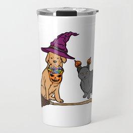 Cute Dog & Cat with Witch Broom Halloween Travel Mug