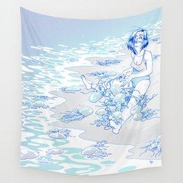 Jellyfish Beach Wall Tapestry