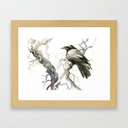 Raven on the Tree, raven desidn crow lover Framed Art Print