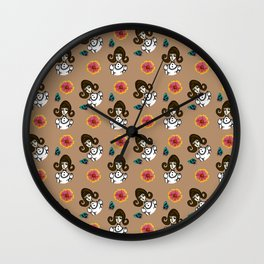 girl with dress beige Wall Clock