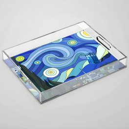 Tardis Art Starry Night Acrylic Tray